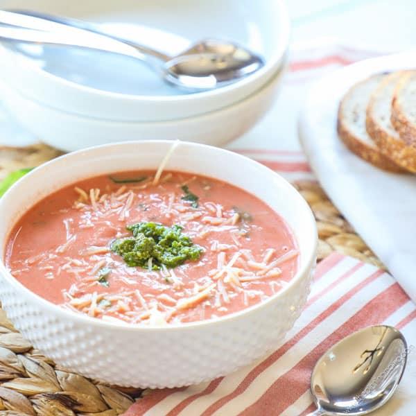 World's BEST Tomato Soup recipe - Creamy Tomato Basil Soup