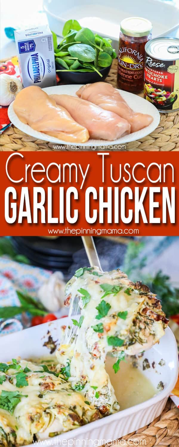 Creamy Tuscan Garlic Chicken Ingredients and serving