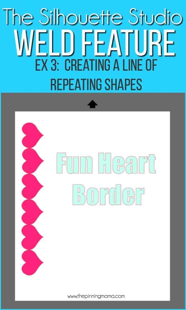 Creating a line of repeating shapes using the weld feature in Silhouette Studio.
