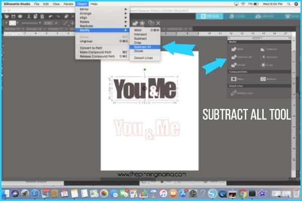 Where to find the subtract all tool in Silhouette Studio.