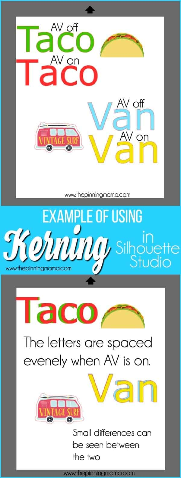 Examples of using Kerning in Silhouette Studio.