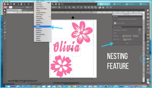 Where to find the nesting feature in Silhouette Studio.