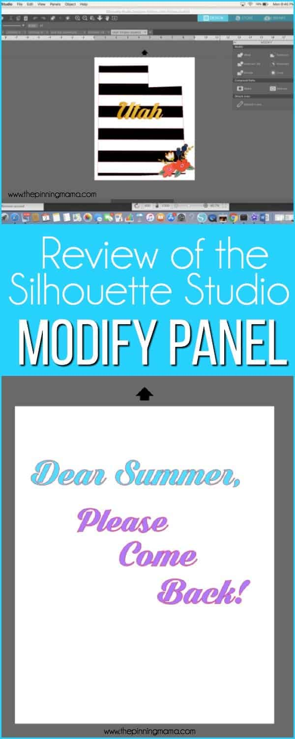 Review of the MODIFY Panel in Silhouette Studio.