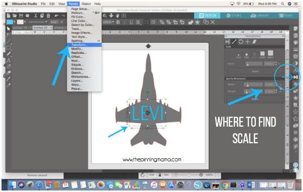 Where to find the scale feature in Silhouette Studio.