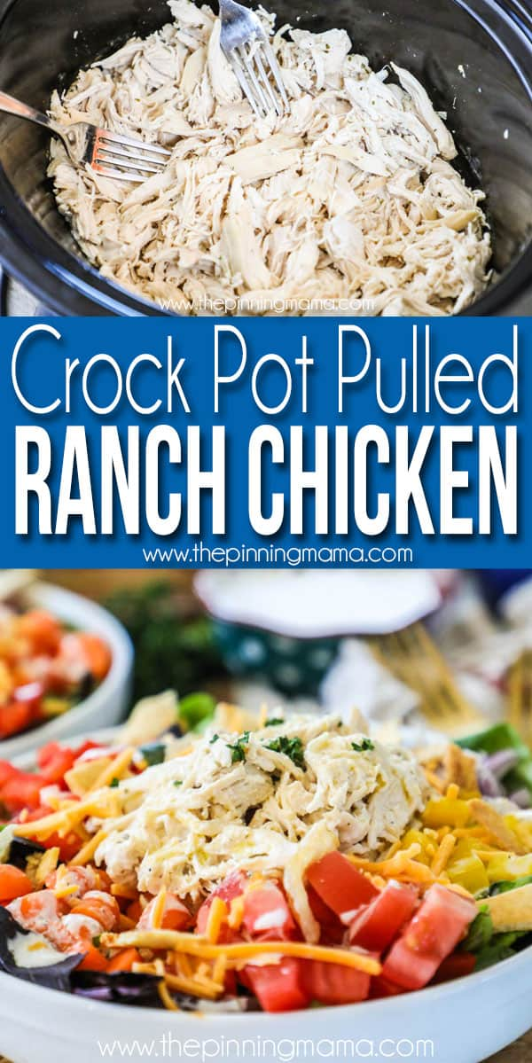 Pulled Ranch Chicken in crockpot and served on salad