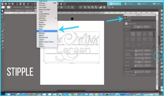 Where to find the Stipple feature in Silhouette Studio.