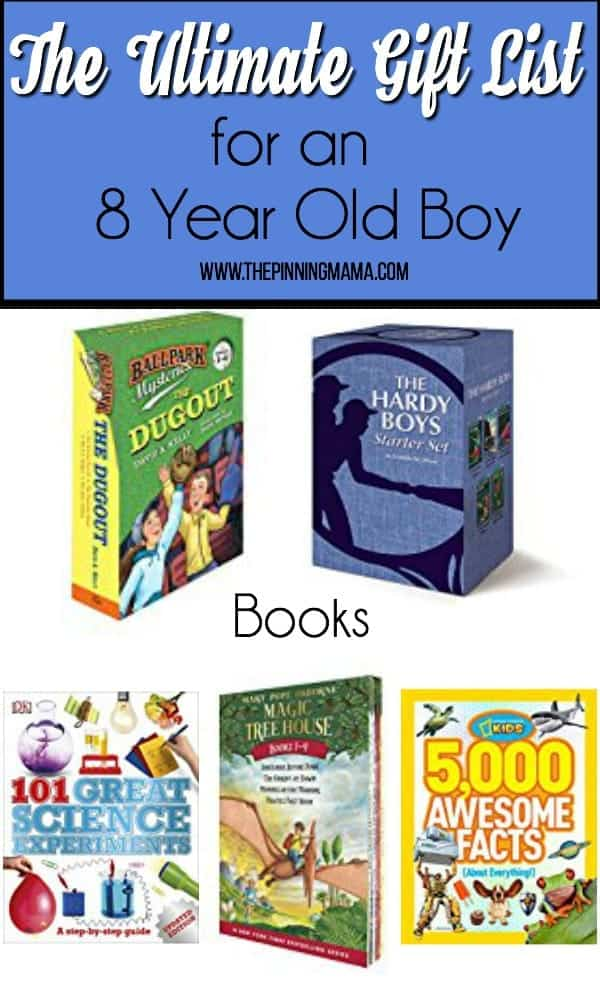 Gift list for an 8 year old boy, books.