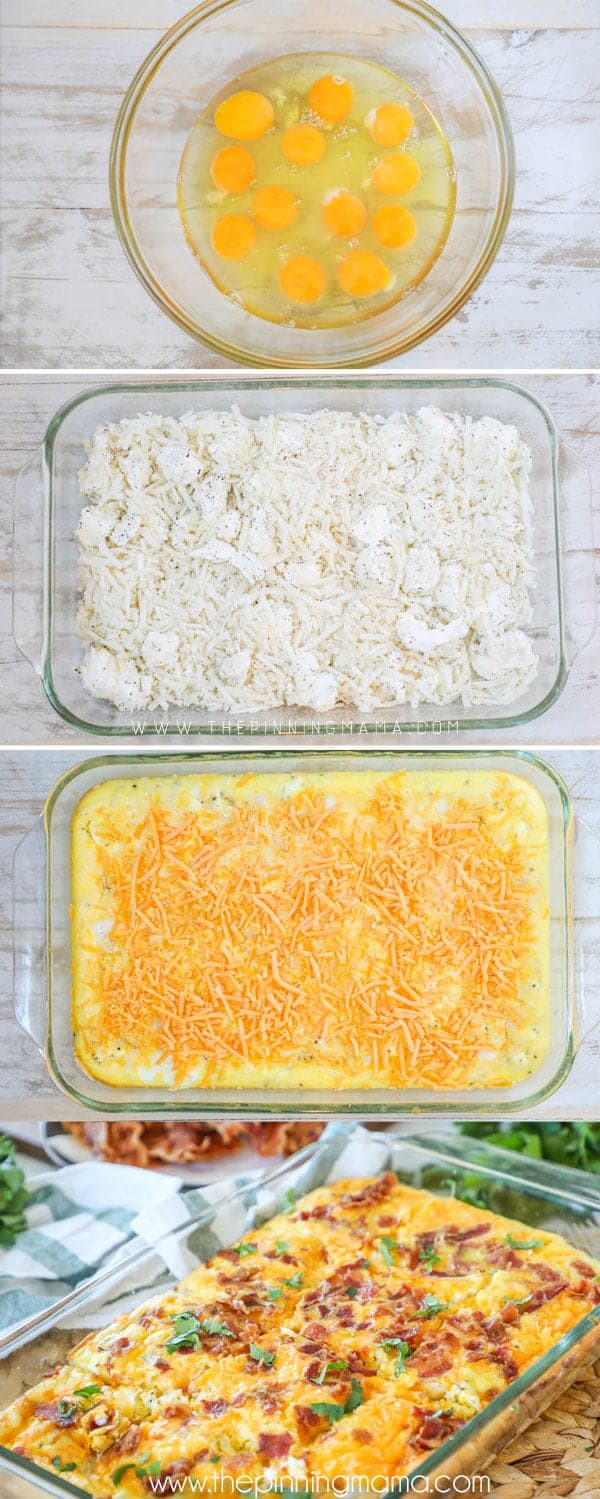 How to Make Easy Breakfast Casserole with Bacon- Step 1 Best eggs and cream - Step 2 put hashbrowns and cheese in casserole dish- Step 3 Cover with cheese and bacon and bake
