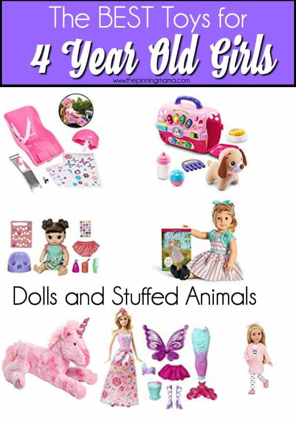 The BIG list of doll and stuffed animal toy ideas for 4 year old girls.