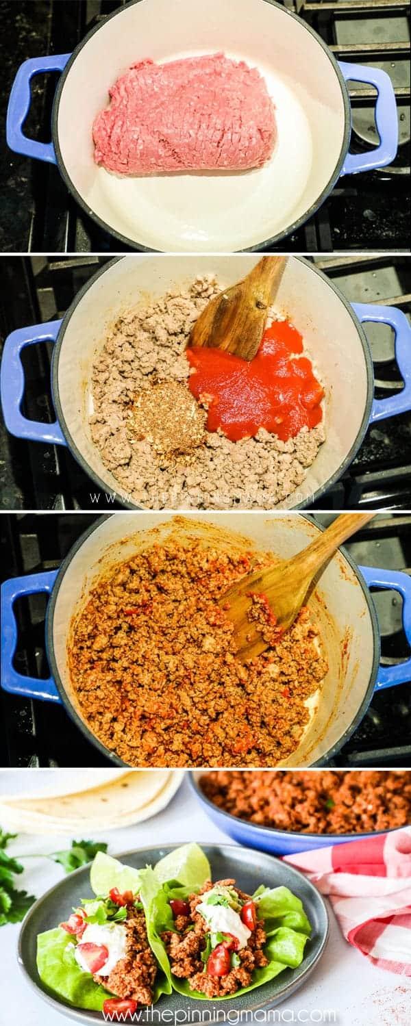 Steps to making turkey taco lettuce wraps.