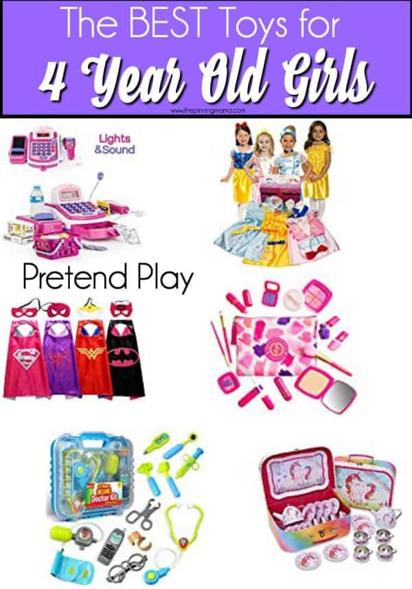 The Big List of Pretend Play toy ideas for 4 year old girls.