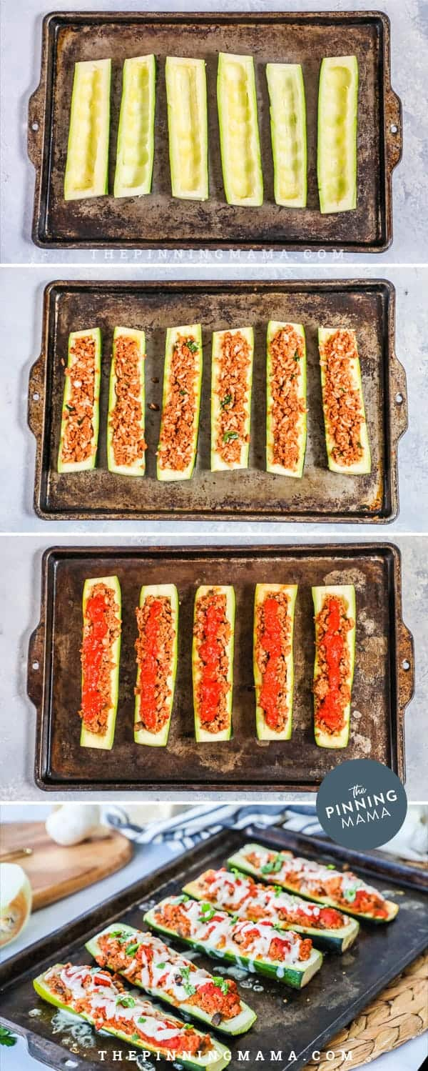 Steps to making Italian Zucchini Boats.