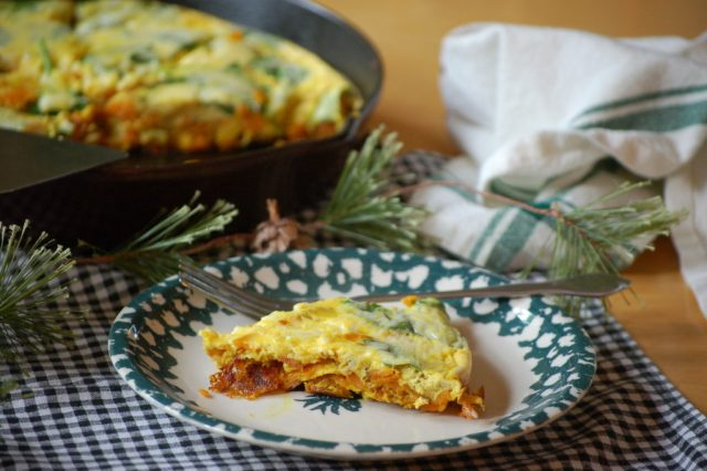 Sweet Potato Spinach Fritatta- This makes a delicous and nutritous breakfast to start your morning with!