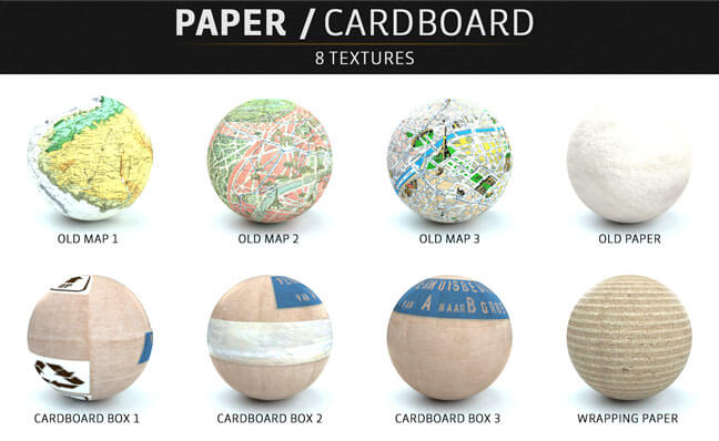 C4D-Otoy-Octane-Render-Material-Textures-Pack-Paper-Cardboard