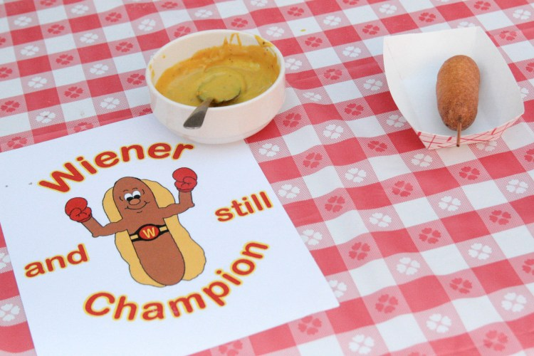 Pizzle Winener and Still Champion Corn Dog