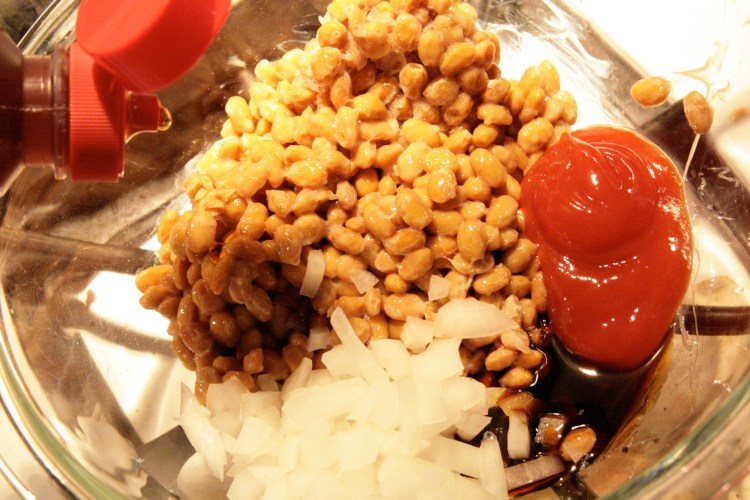 Natto Baked Beans Ingredients Mixed