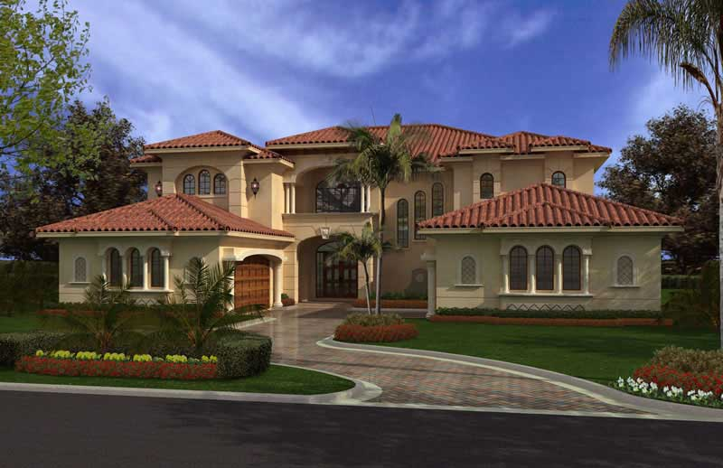 Luxury Home with 6 Bdrms  6175 Sq Ft   Floor Plan  107 1002  107 1002      Luxury house plans AA6175 0431 color rendering