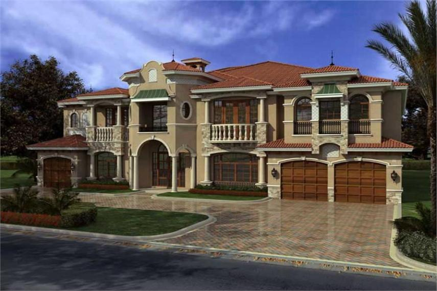 Luxury Home with 7 Bdrms  7883 Sq Ft   House Plan  107 1031  107 1031      7 Bedroom  7883 Sq Ft Luxury House Plan   107 1031   Front