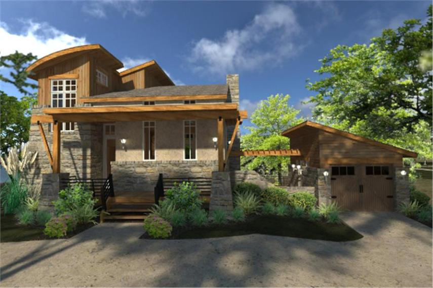 Contemporary Cottage House Plan  117 1101  2 Bedrm  985 Sq Ft Home      117 1101      2 Bedroom  985 Sq Ft Contemporary House Plan   117 1101   Front
