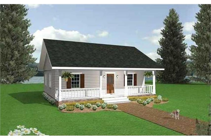 Country House Plan   2 Bedrms  1 Baths   864 Sq Ft    123 1050  123 1050      Home Plan Rendering of this 2 Bedroom 864 Sq Ft Plan  123