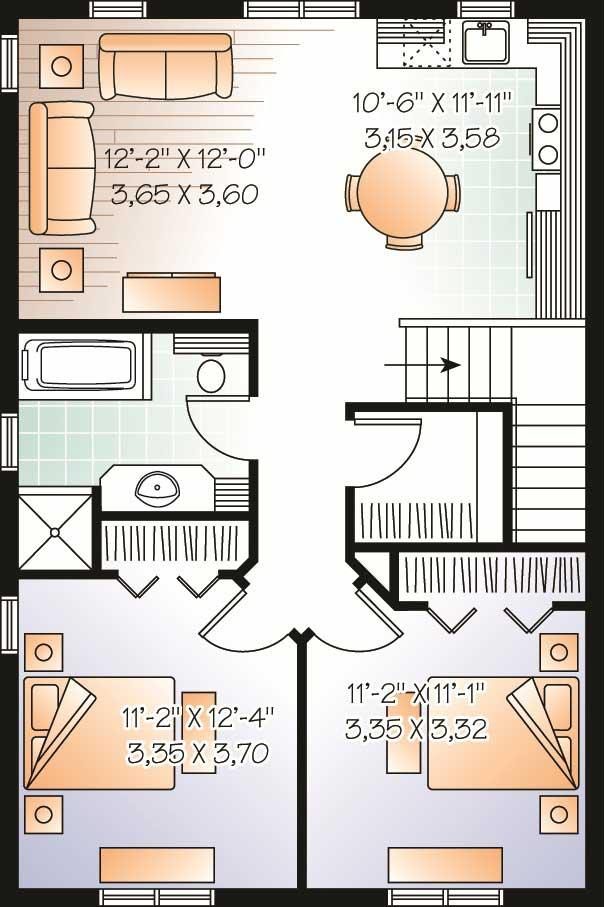 Garage WApartments Home Plan 2 Bedrms 1 Baths 1042 Sq Ft 126 1130