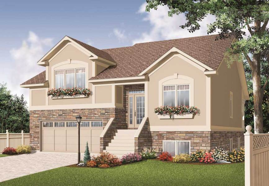 Split Level House Plans   Home Design 3468  126 1145      This is the front elevation for these Split Level House Plans