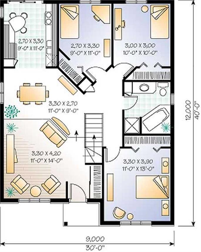 Small European Bungalow Floor Plan 3 Bedroom 1131 Sq Ft