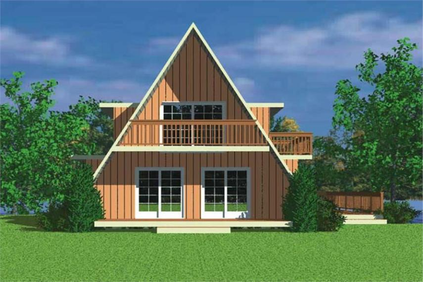 A Frame Home Plan   3 Bedrms  2 Baths   2054 Sq Ft    137 1205  137 1205      Home Plan Rear Elevation of this 3 Bedroom 2054 Sq Ft Plan  137