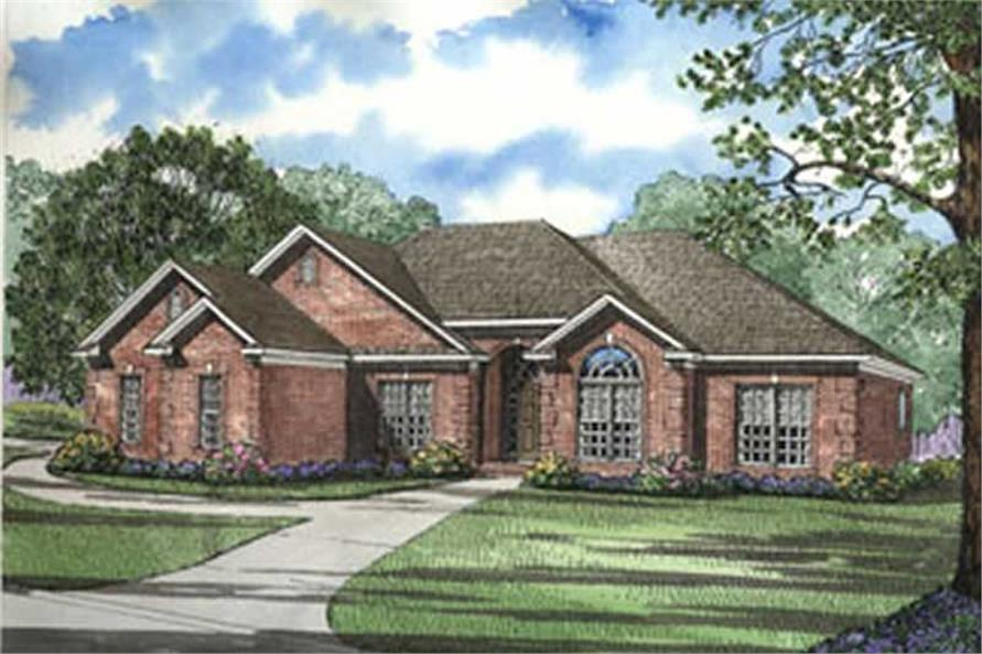 4 Bedroom  Southern  Traditional House Plans   Home Design  153 1645  153 1645      4 Bedroom  1989 Sq Ft Ranch House Plan   153 1645   Front