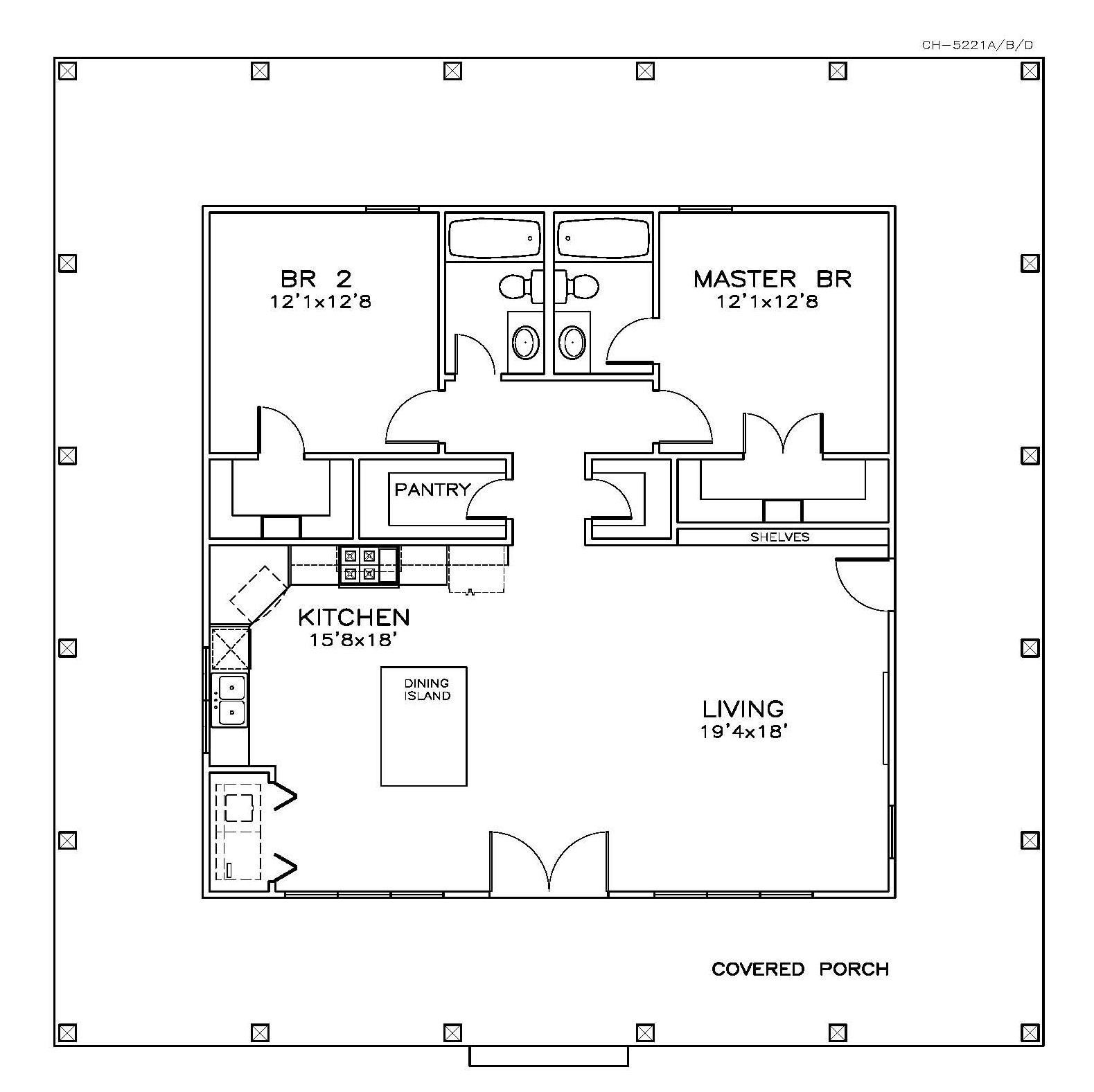 Southern House Plan 155 2 Bedrm Sq Ft Home