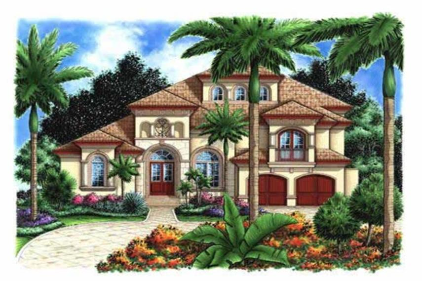 Mediterranean House Plans  Florida House Plans  House Plans   Home      175 1052      5 Bedroom  4198 Sq Ft Florida Style Home Plan   175 1052