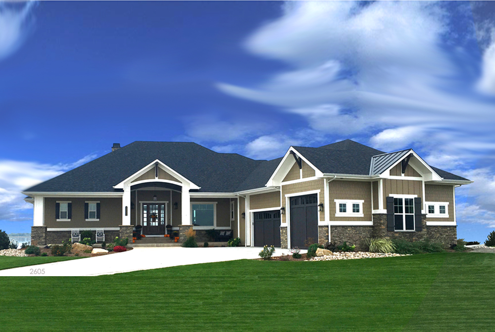 Transitional Ranch House Plan 2 Bedrms 25 Baths 2605