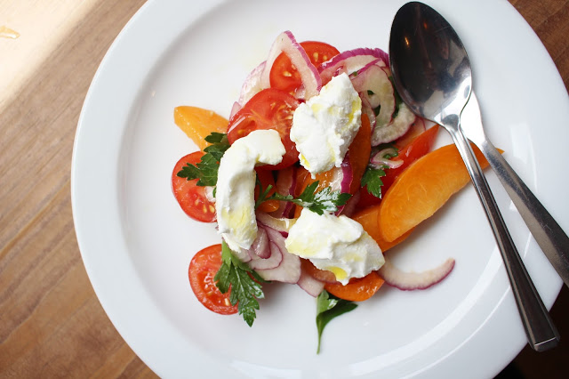 peach burrata salad Bellita, Bristol