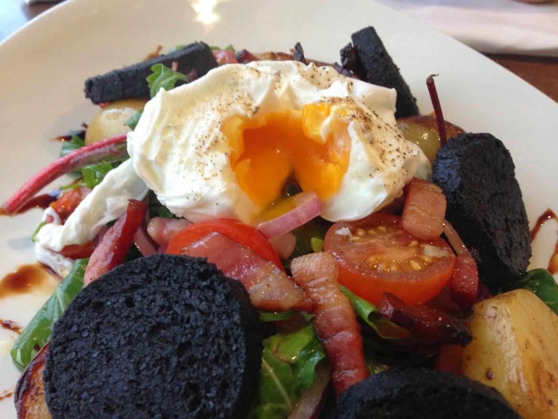 black pudding bacon egg salad Pier 64 Penarth Marina