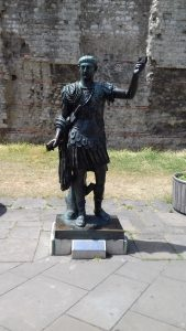A bronze statue of the Emperor Trajan