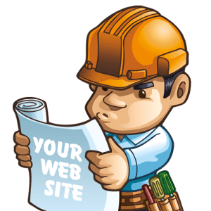 A builder looking at a website blueprint