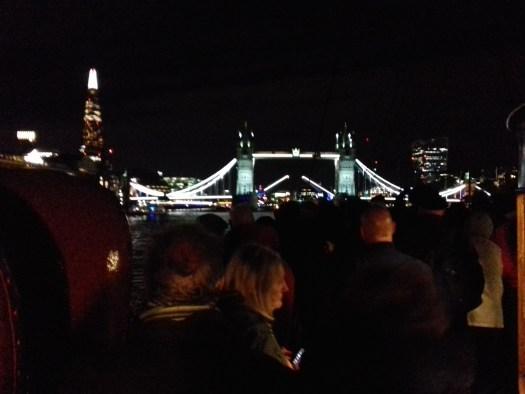 Passengers onboard PS Waverley watching Tower bridge opening