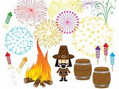 Guy Fawkes with a bonfire on the left and Gun powder Barrels on the right