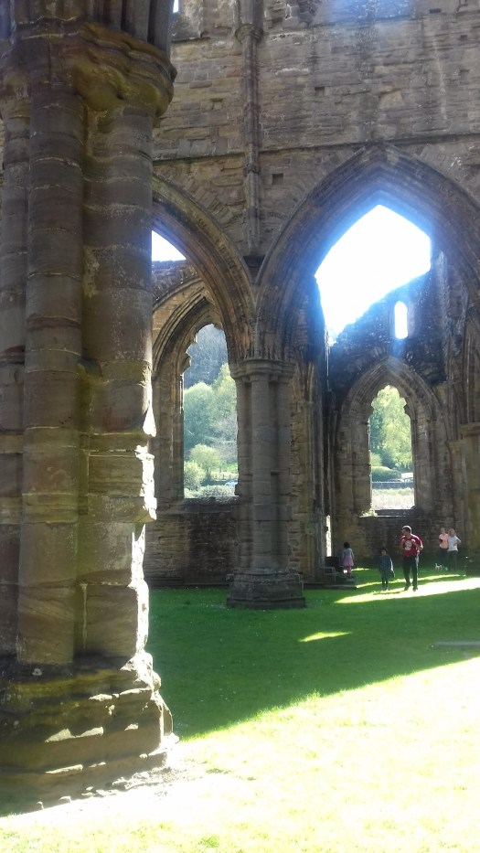 Stone columns inside Tintern Abbey