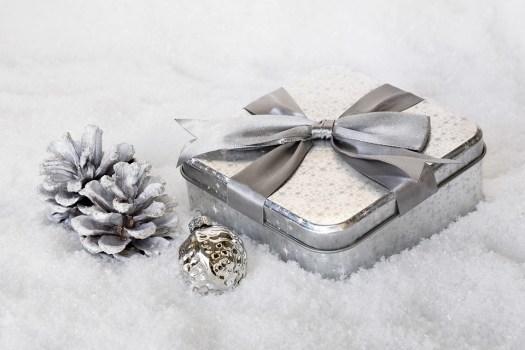 A silver box on snow