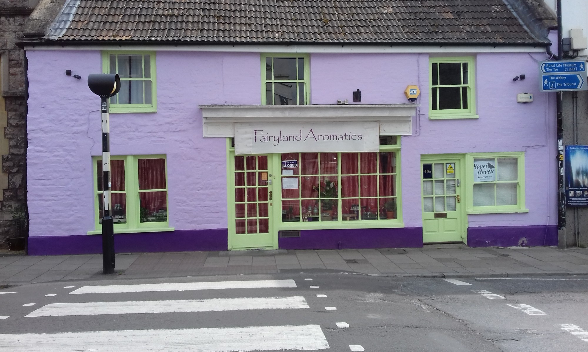 A lilac and yellow shop. Fairyland aromatics which sells essential oils.