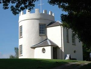 The whie round house on the Kymin hill