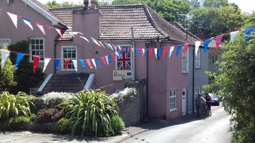 Pink house and bunting for V.E. day