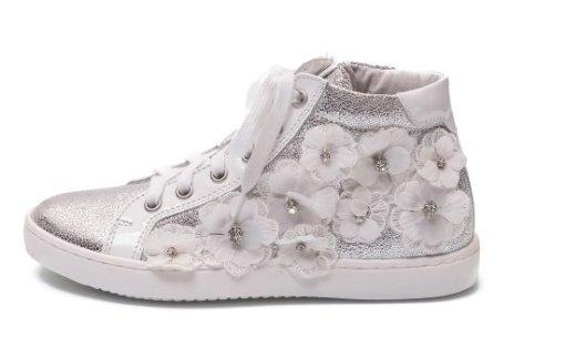 sneakers alte fiori applicati ninette en fleur
