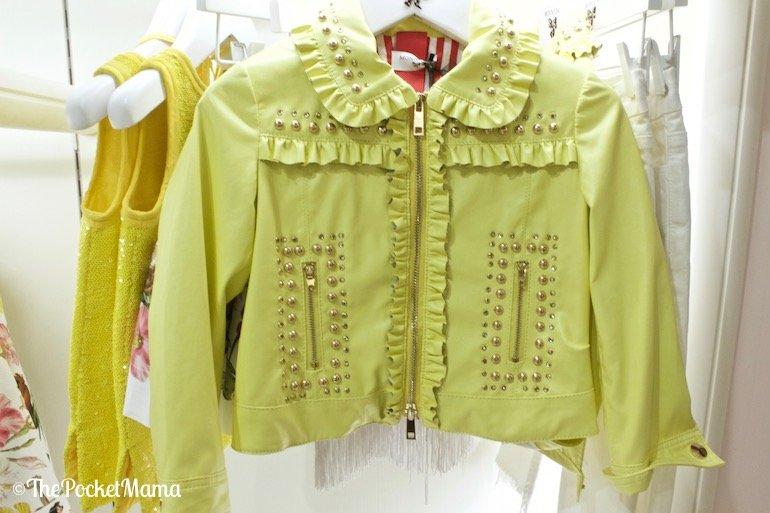 giubbino in pelle giallo Monnalisa primavera-estate 2018