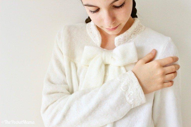 vestaglia Piccola Lingerie con fiocco in lana