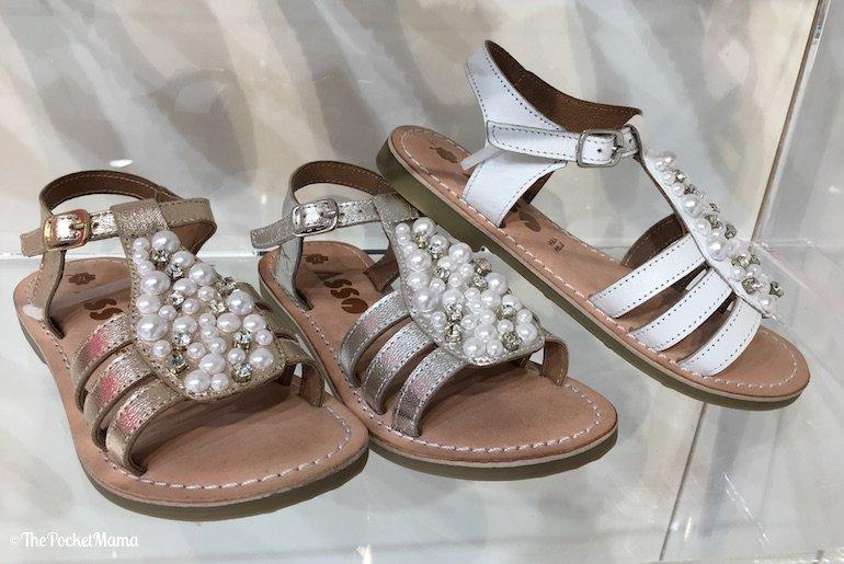 sandali bambina Asso con perle e strass applicati SS 2018