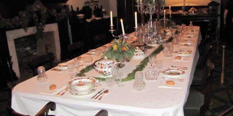Table set for Christmas in the dining room at Dundurn