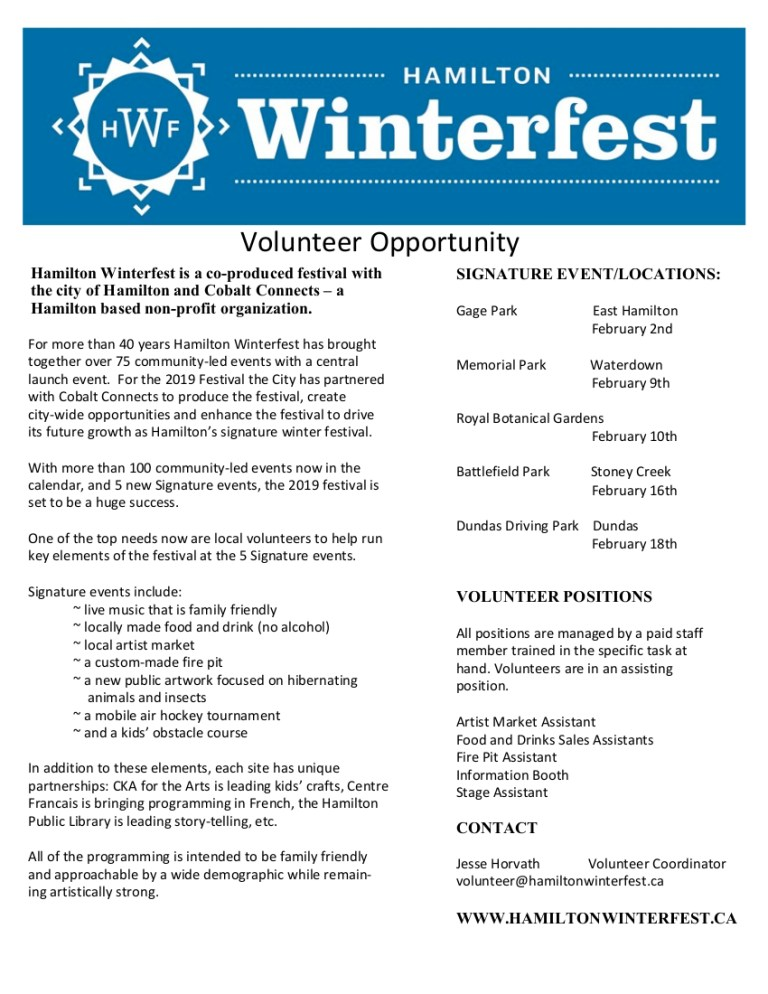 Poster for volunteers for winterfest