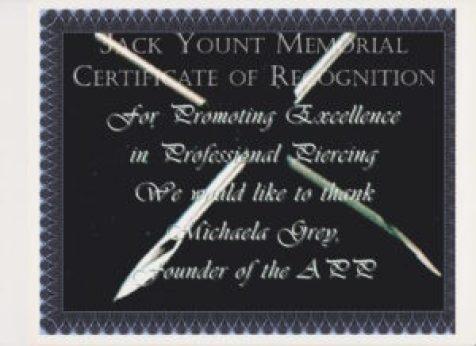 Jack Yount Memorial Certificate of Recognition